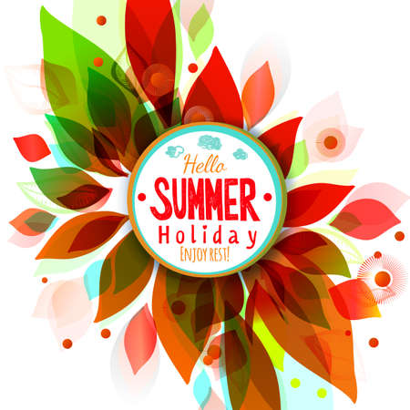 Summer holidays background with circle sticker. Abstract floral decorative element for text. Season design banner.