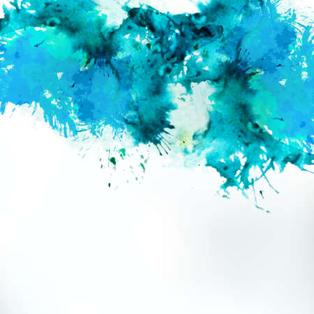 Sea blue centered decorative watercolor background. Vector hand drawing abstract illustration for business headline. Artistic banner for creative touristic offer. Vettoriali