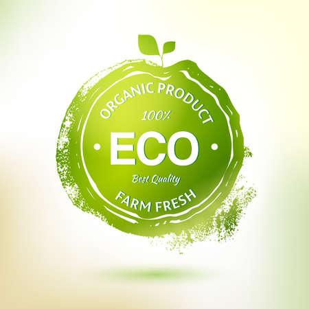 環境に優しい製品のスタンプ ラベルを図面のベクトル。要素をスケッチします。自然食品のロゴの要素。スケッチの食べ物や飲み物のステッカー。