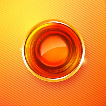 lighting button: Vector abstract Hot colors abstract circle badge at orange background. Modern award concept.