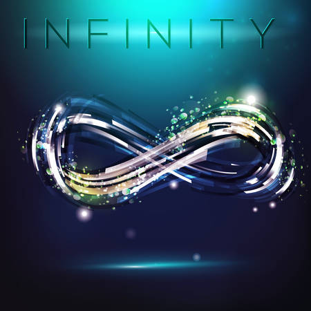 infinity icon: Infinity symbol at night sky background. Drawing linear decorative illustration. Modern logo presentation.