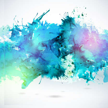 color illustration: Sky blue centered decorative watercolor background. Vector hand drawing abstract illustration for business headline. Artistic banner.