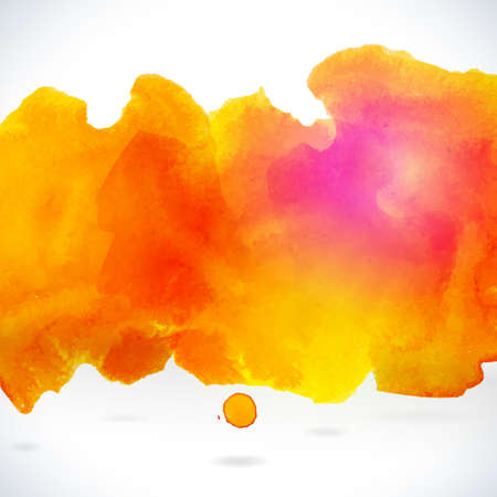 Orange centered decorative watercolor background. Vector hand drawing abstract illustration for business headline.