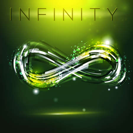 Infinity symbol at dark green background. Drawing linear decorative illustration. Modern logo presentation.