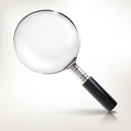 Realistic small magnifier vector illustration. Scientific instrument occupies for research.