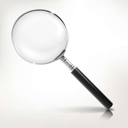 Realistic magnifier vector illustration. Scientific instrument occupies for research.