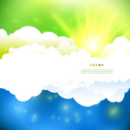 sun illustration: Vector drawing summer green and blue  cloudy sky with sun illustration.