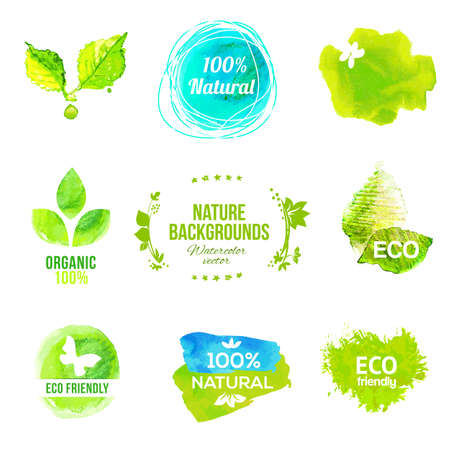 ecology emblem: Vector watercolor eco friendly product labels set. Drawing natural food and drink logo collection. Illustration