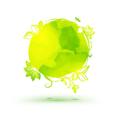 ECO: Watercolor ecology theme hand drawing sticker. Eco friendly vector concept.