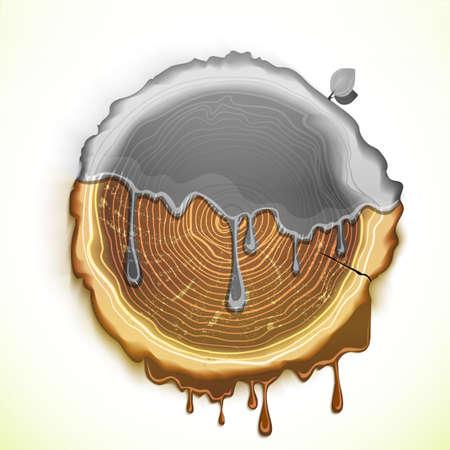 arbol de problemas: Dibujo vectorial concepto problema ecología árbol cortado. Eco Ilustración conceptual de dibujo mano amiga.