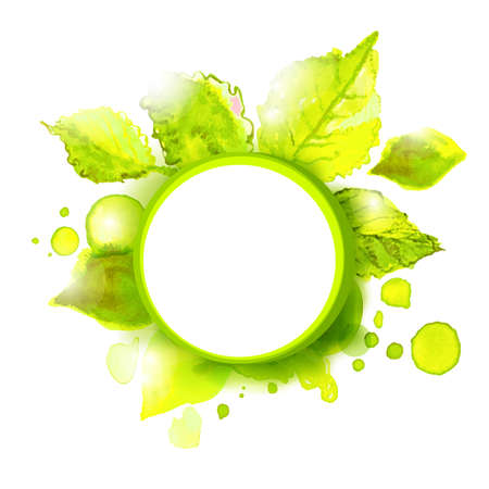 Vector empty label with green summer leaves. Season summer background for outdoor advertising. 일러스트