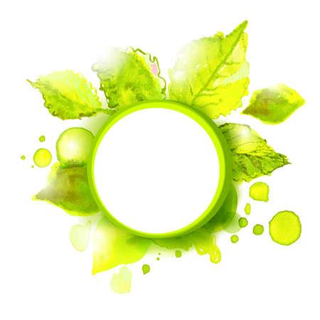Vector lege label met groene zomer bladeren. Seizoen zomer achtergrond voor buitenreclame. Stock Illustratie