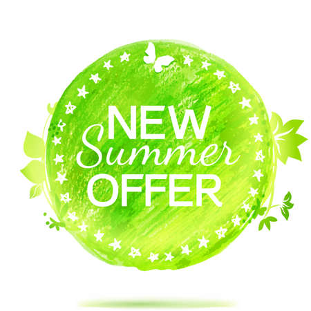 transition: New summer offer green colors drawing circle label. Color transition emblem.