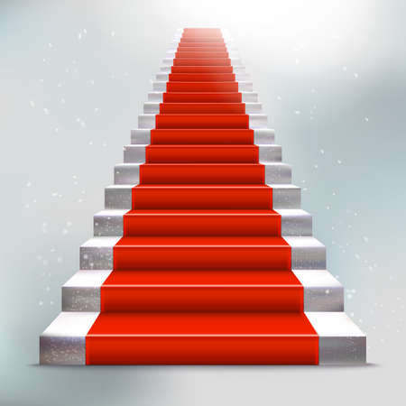 red carpet: Realistic stone ladder with red carpet. Luxury style vector illustration. Staircase concept. Lighting effect.