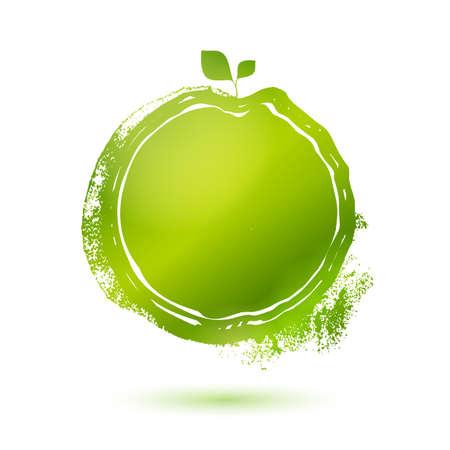 環境に優しい製品のベクトル メニュー スタンプ ラベルです。自然食品のロゴの要素。スケッチの食べ物や飲み物のステッカー。  イラスト・ベクター素材