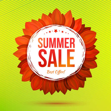 contrasty: Sale illustrated flower at green background, contrasty colors vector concept. Decorative banner. Summer hot offer concept.