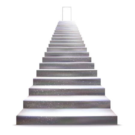 staircase: Realistic stone ladder with open door, vector illustration. Staircase concept.