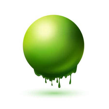 regression: Melting green sphere concept. Summer idea symbol. Eco energy illlustration.