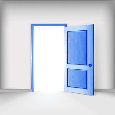 main idea: Men service creative illustration. Open blue color door.