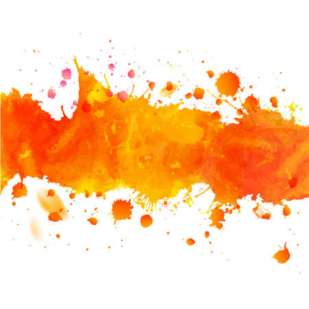 Watercolor orange watercolor drawing tape with splashes. Decorative paper design. Abstract autumn season vector illustration.