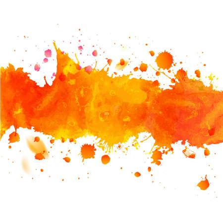 Waterverf het oranje aquarel tekening tape met spatten. Decoratief papier ontwerp. Abstracte herfst seizoen vector illustratie.