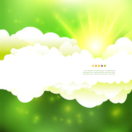 sun illustration: Vector drawing summer green colors cloudy sky with sun illustration.
