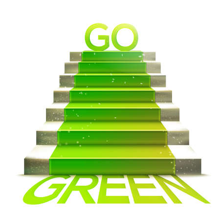 green carpet: Realistic stone ladder with green carpet and go green message. Eco theme vector illustration. Ecology concept. Illustration