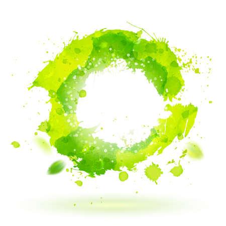 Waterverftekening groene curve symbool met spatten. Decoratief papier ontwerp. Abstracte vector illustratie. Zakelijke identiteit symbool. Stock Illustratie