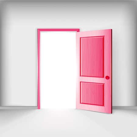 main idea: Female service creative illustration. Open pink color door.
