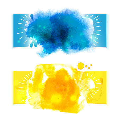 Watercolor splash banners. Blue and yellow colors. Artistic background for Summer Design. Abstract vector illustration.