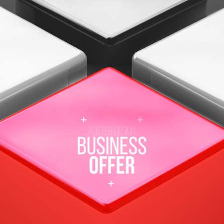 red cube: Disegno vettoriale poster con cubo rosso, sfondo di affari.