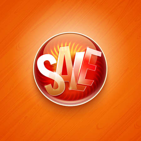 flayer: Red sale offer circle label.  Flayer with hot sale typography.