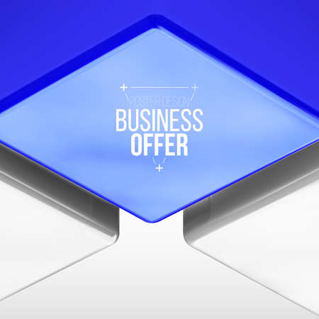 poster design with blue cube, business background. Frame composition. 일러스트