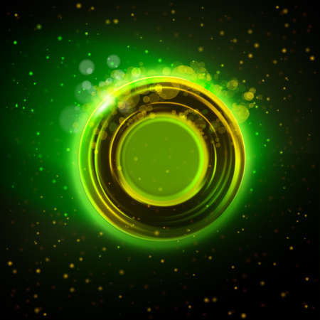 Green and gold colors abstract circle badge at night background. Modern industrial or technology concept. 일러스트