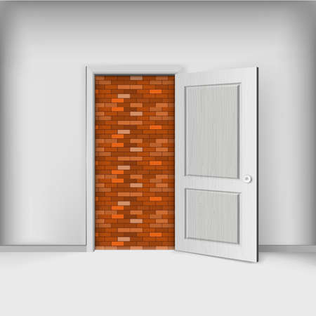 Locked door, brickwork exit. Out of gear service creative illustration.