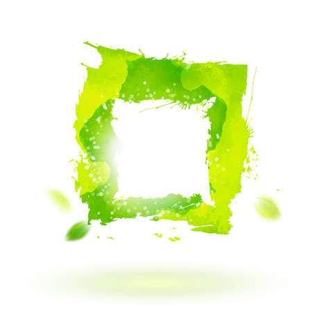 symbol decorative: Watercolor drawing green square symbol. Decorative element. Abstract  illustration. Business identity symbol.