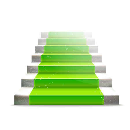 green carpet: Realistic stone ladder with green carpet. Luxury style illustration. Staircase concept. Lighting effect.