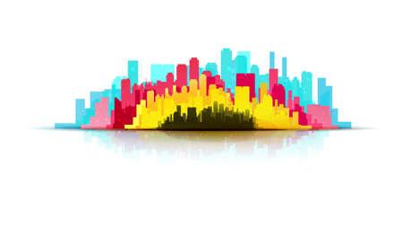 CMYK city print service concept. Pulish and poligraphic illustration. Press technology identity.