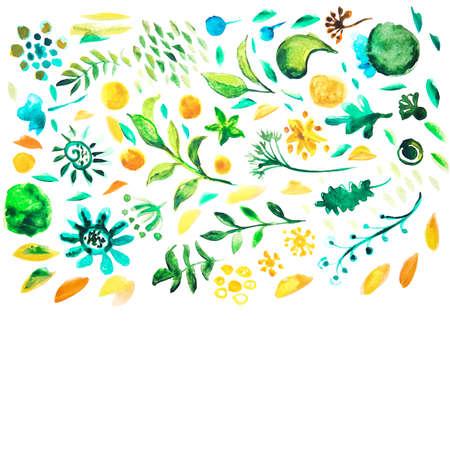 etnic: Watercolor rastr pattern. Hand drawing floral decorative elements. Alternative healthcare service illustration. Illustration