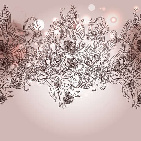 main part: Vintage seamless romance background with bird and floral elements, Sketch art. Hand drawing retro illstration for holidays and party invitations.