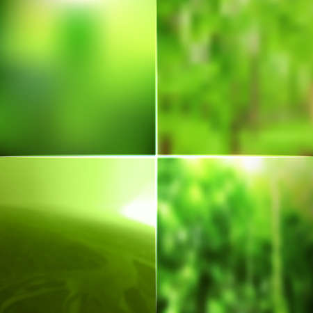 lighting effects: Blur vector nature green colors backgrounds set. Defocused retro design with lighting effects. Abstract web banners collection.