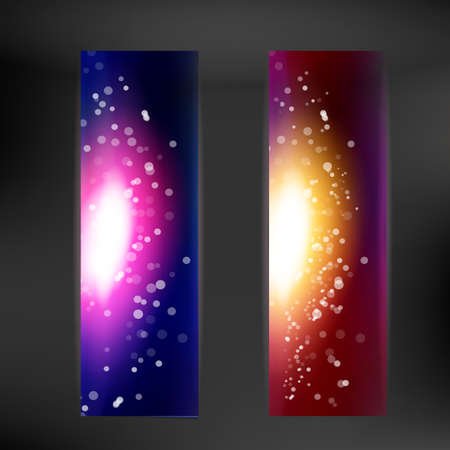 chemical industry: Night and day sky color way banner, vector illustration. Abstract decorative tape. Party design element. Sky and stars vertical web page set. Illustration