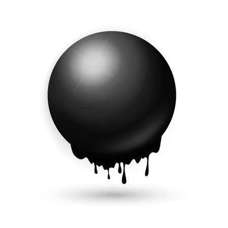 regression: Melting black sphere concept. Techno and industry creative illlustration. Illustration