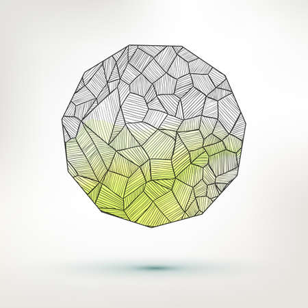 main part: Pen drawing sphere with lot of elements. Abstract vector illustration.