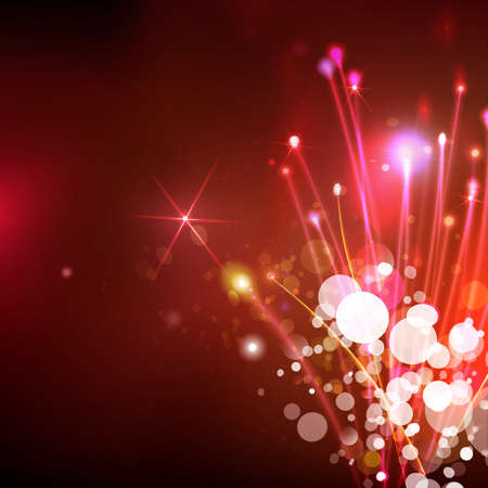 red sky: Abstract optical fibers at red sky background. Space futuristic technology illustration. Global communication concept. Holidays firework vector. Illustration