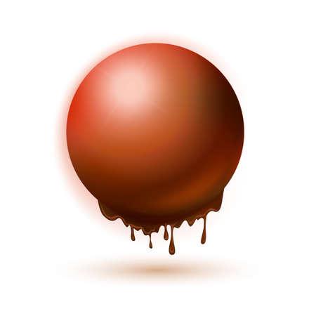 regression: Melting orange  sphere concept. Autumn idea symbol. Hot energy illlustration.