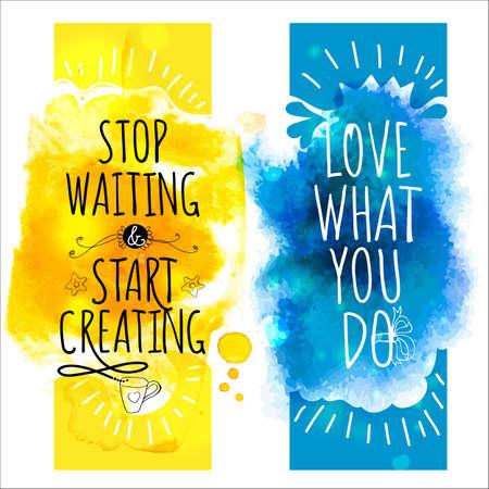 Aquarel splash banners met life style boodschappen plezier. Artistieke achtergrond voor de zomer Design. Abstracte vector, hand tekening typografie en illustratie Stock Illustratie