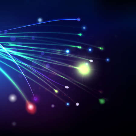 vezels: Abstract optical fibers at blue dark background. Space futuristic technology illustration. Global communication concept. Web banner vector. Stock Illustratie