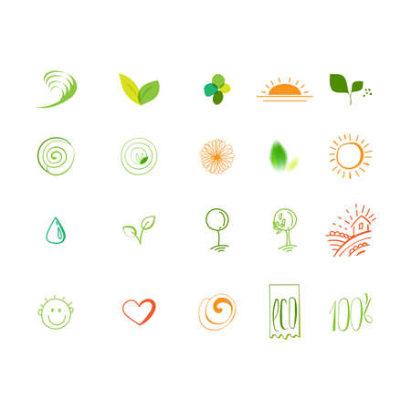 Eco friendly  sketch vector icons set. Natural ingredients symbols for fresh food packadge.
