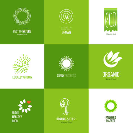 slow food: Set of icons for food and drink, restaurants and organic products. Natural ingredients logos. Natural food label collection.